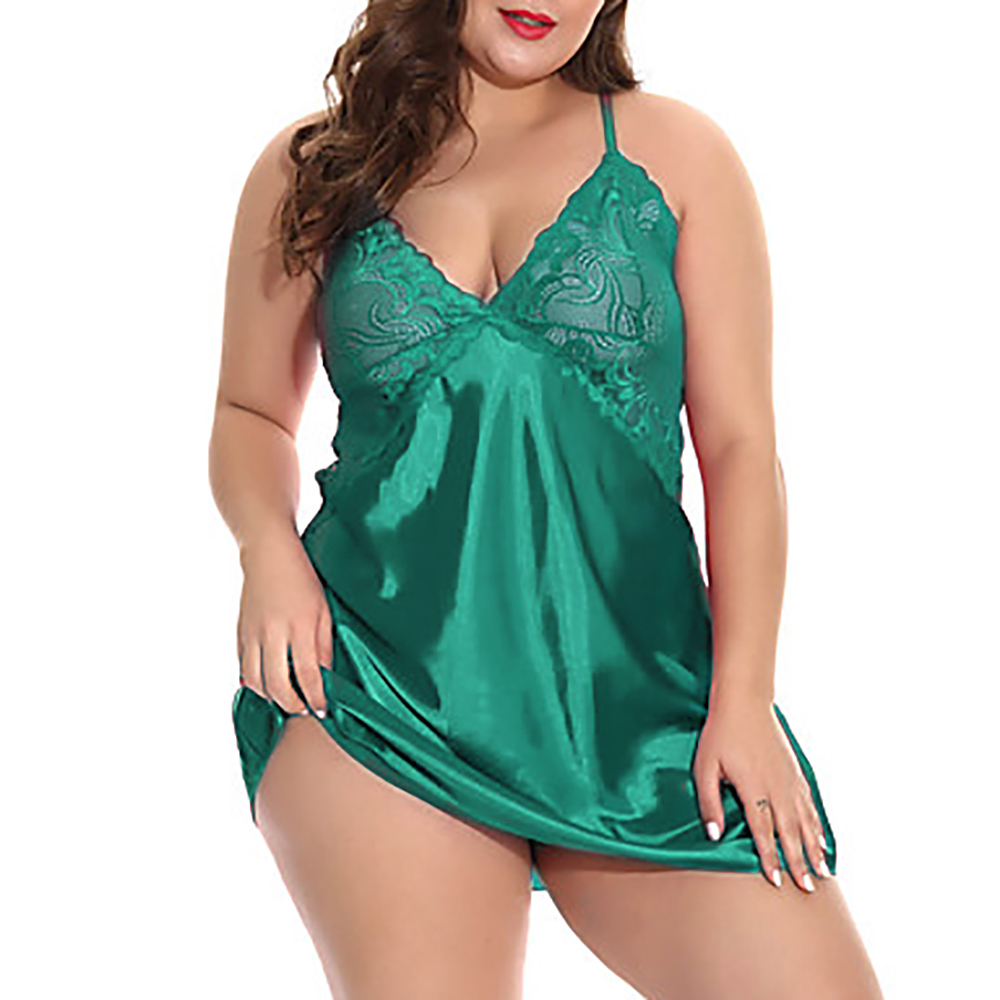 5XL Sexy Women Sleep Dress With G-String Female Deep V Lingerie Set Plus Size Erotic Costumes Hollow Out Underwear Babydoll 35 4