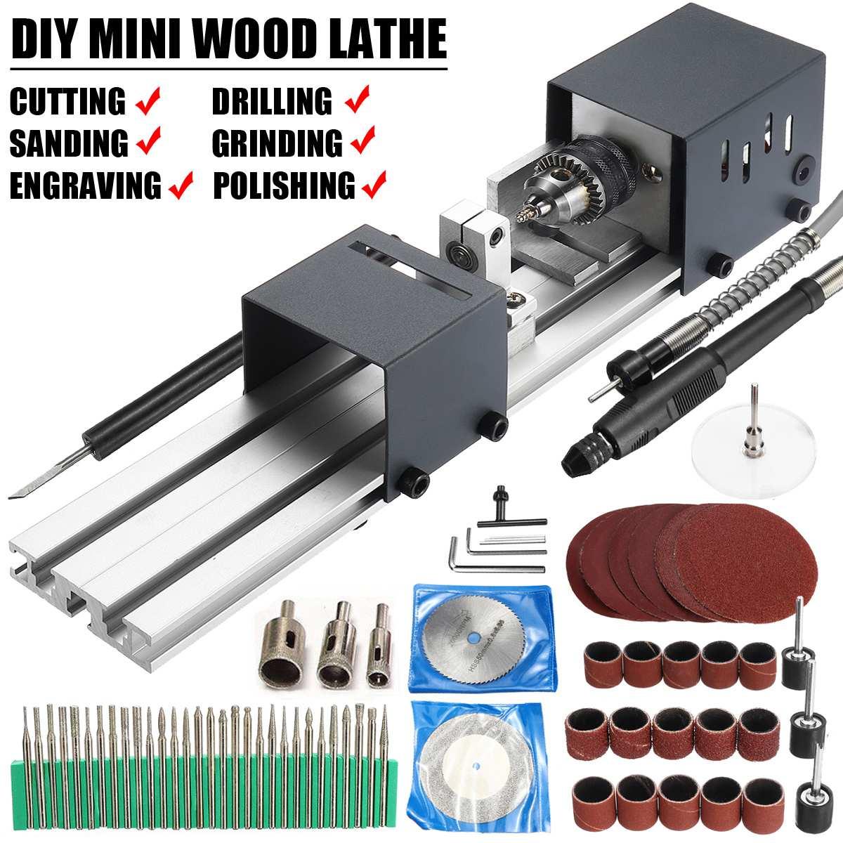 24V 80W Mini Drehmaschine Perlen Maschine Polierer Tisch Sah Mini DIY Holzbearbeitung Drehmaschine Dreh Werkzeug Kit Zubehör