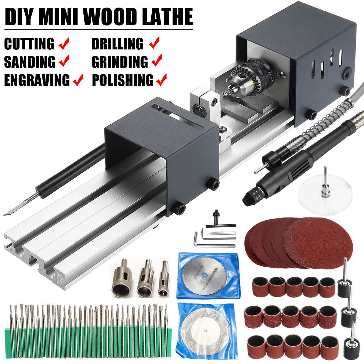 24V 80W Mini Lathe Beads Machine Polisher Table Saw Mini DIY Woodworking Lathe Rotary Tool Kit Accessory