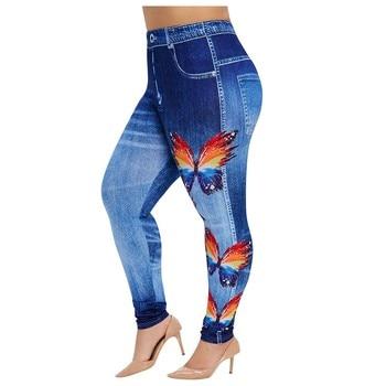 Women's Plus Size Casual Imitation Cowboy Leggings Elasticity Slim Cropped Pants stretching large si