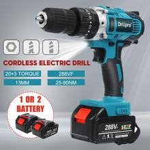 13mm Brushless Electric Drill 90N.m Cordless Screwdrive Hammer Power Tools with 2X 15000Amh Li Battery for Makita 18V Battery