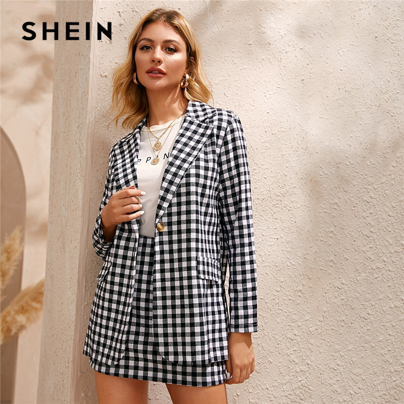 SHEIN Black And White Gingham Print Single Button Front Blazer And Skirt Preppy Set Women Autumn Long Sleeve Casual Outfits