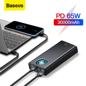 Baseus PD 65W Power Bank 30000mAh PowerBank QC 4.0 SCP AFC Fast Charging For iPhone Macbook pro Laptop External Battery Charger(China)