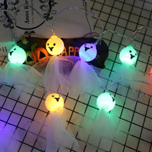 10 Lamps Skeleton Fabric Ghost Elf Grimace String Lights 3D DIY Fairy Light for Halloween Party Festivals Decoration