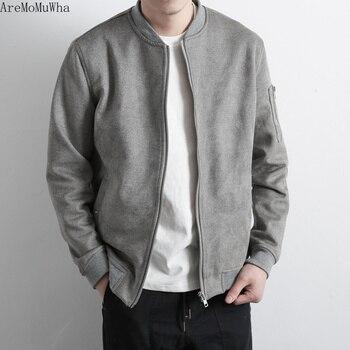 AreMoMuWha 2019 Spring New Japanese Retro Baseball Collar Jacket Shirt Tide Male Simple Slim Thick Coat Jacket Literary Youth