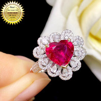 10K Gold ring Lab Created 2ct Ruby and Moissanite Diamond Ring With national certificate Ru 003