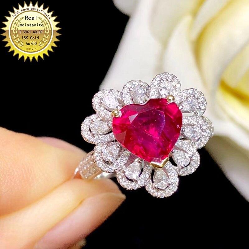 Le laboratoire d'anneau en or 10K a créé la bague de diamant de rubis et de Moissanite de 2ct avec le certificat national Ru-003