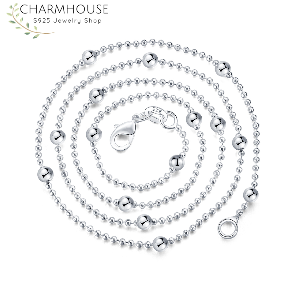 """Bead Necklace 16"""" to 18"""" New 925 Sterling Silver Ball"""