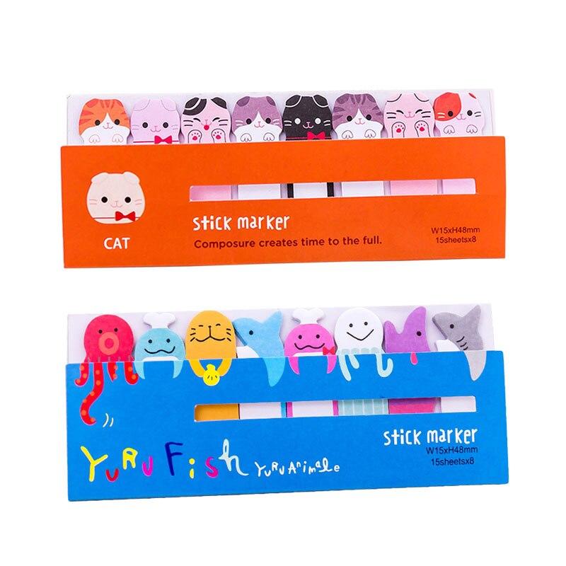 Mignon Animal bloc-Notes Kawaii Notes autocollantes marque Index étudiant planificateur signet papeterie fournitures scolaires