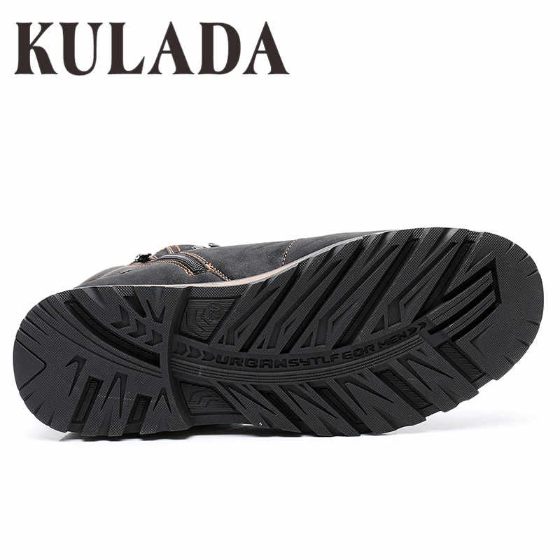KULADA Laarzen mannen Winter Sneakers Laarzen Mode Winter Sneeuw Warme Laarzen Mannen Lace Up Ademend Schoeisel Mannen Casual Schoenen