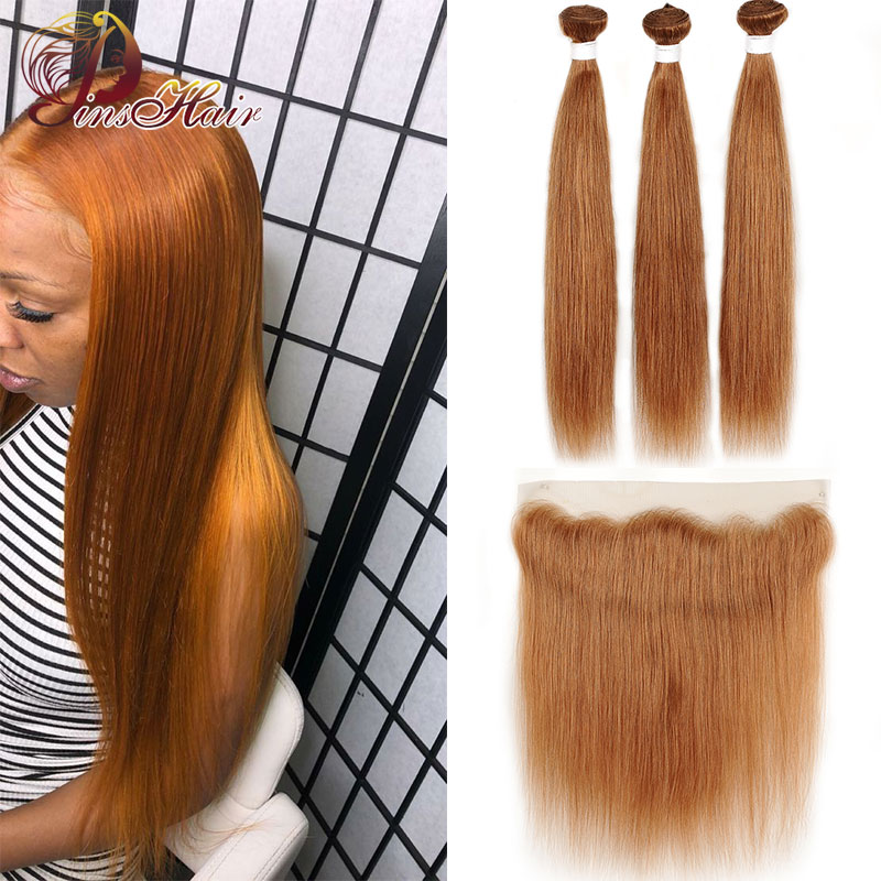 Brazilian Straight Hair Bundles With Closure Pinshair Non-remy #30 Colored Blonde Human Hair Bundles With 13*4 Lace Front 10-26