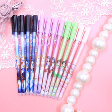 48 pcs/lot Kawaii Beautiful Girl Erasable Gel Pen Cute 0.5mm Blue Ink Signature Pens Promotional Gift Stationery School Supply