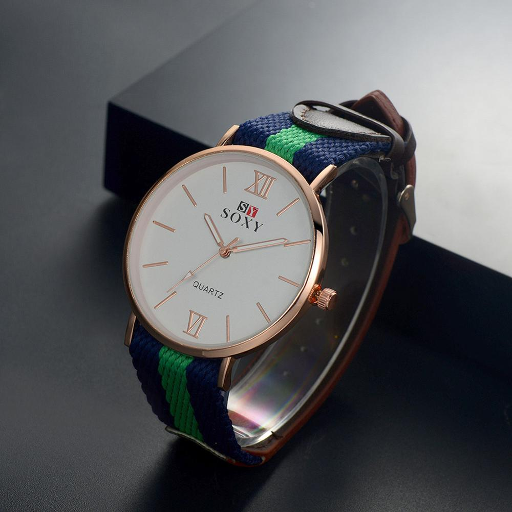 Couple's Fashion Casual Fabric Band Colorful Campus Style Watch Big Dial Quartz Wrist Watches Reloj Men And Women Simple