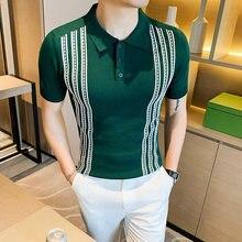 Polo à rayures pour hommes, tricot Social, Slim Fit, Style britannique, Polo d'été à manches courtes, 3XL