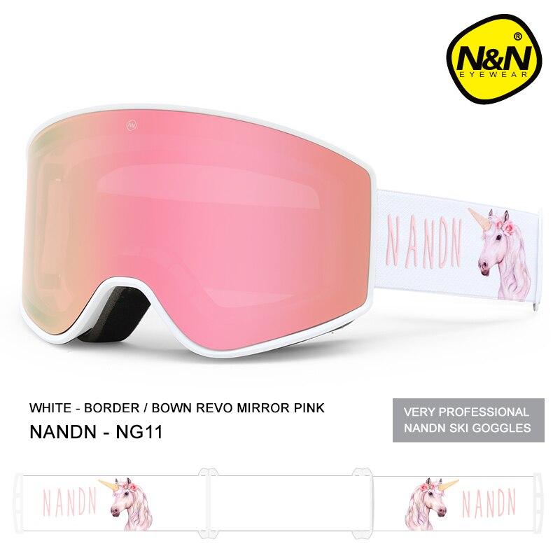 NANDN лыжные очки двухслойные UV400 Анти туман большой Лыжная маска очки Лыжный Снег Мужчины Женщины Сноуборд очки - 3