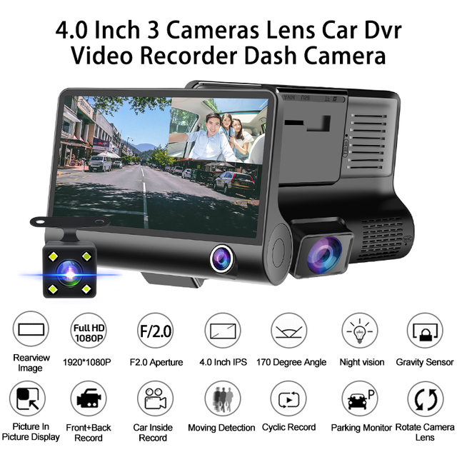 E-ACE Car DVR 3 Cameras Lens 4.0 Inch Dash Camera Dual Lens suppor Rearview Camera Video Recorder Auto Registrator Dvrs Dash Cam 2