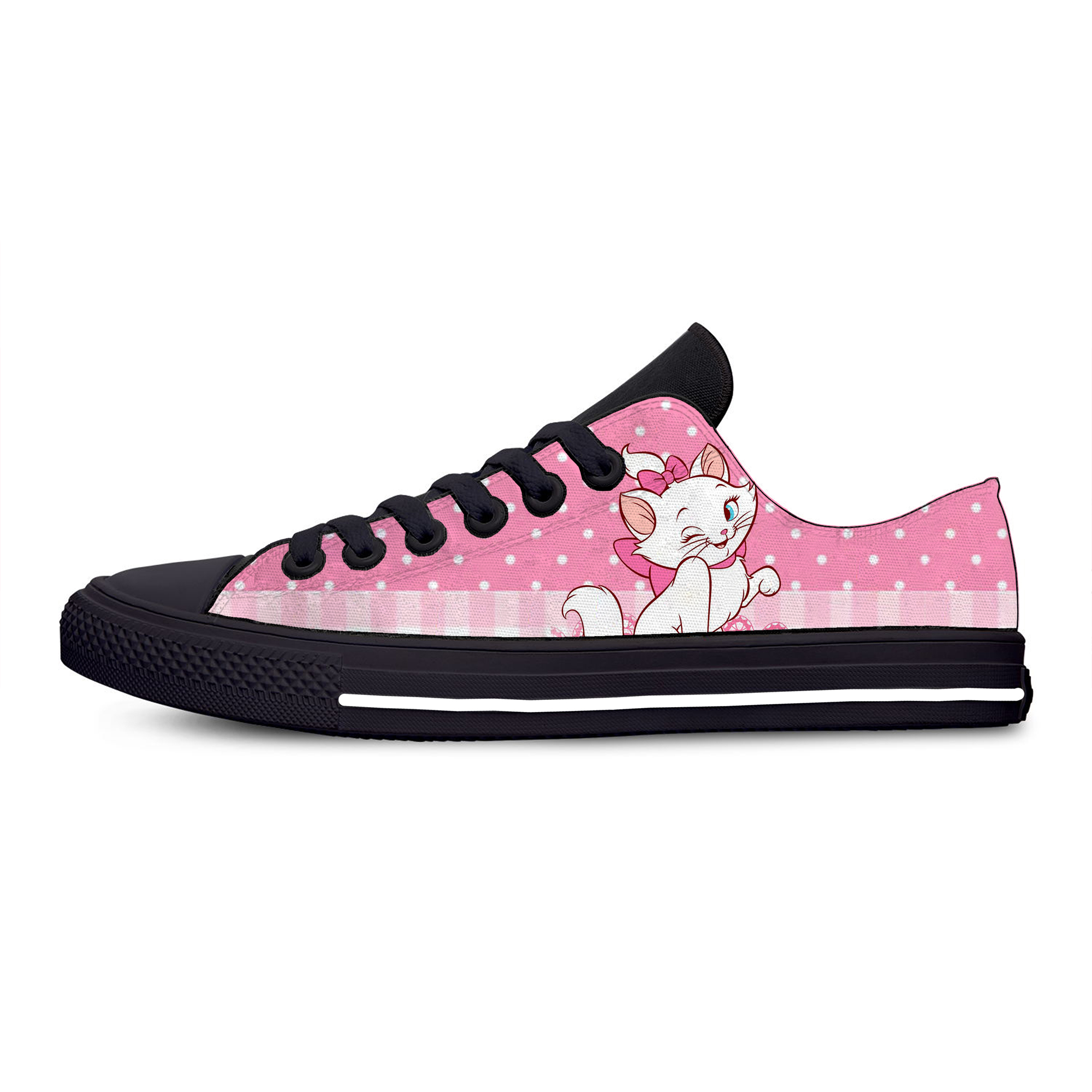 Marie Cat Aristocats Cartoon Cute Fashion Funny Casual Canvas Shoes Low Top Lightweight Breathable 3D Printed Men women Sneakers