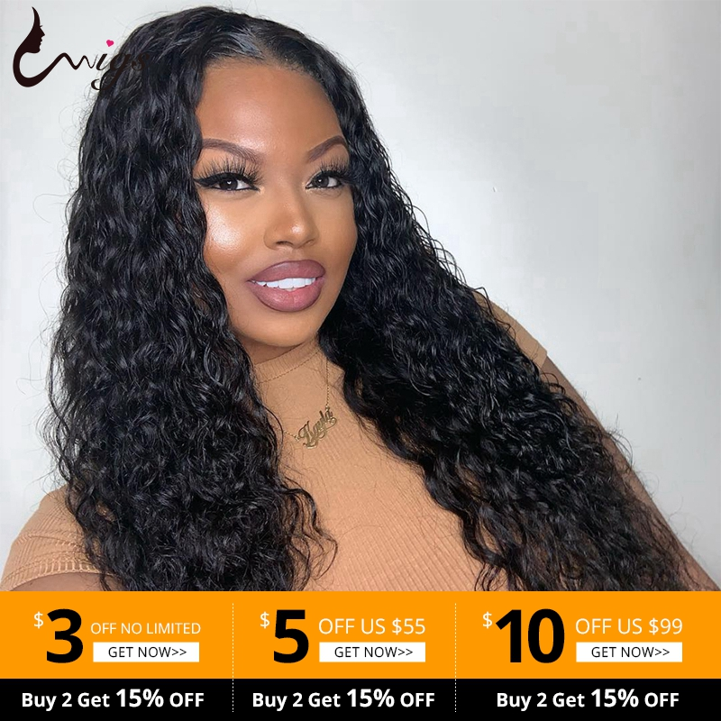 Uwigs Malaysian Water Wave Lace Front Human Hair Wigs With Baby Hair Pre Plucked Brazilian Remy Wigs For Women 150% Density
