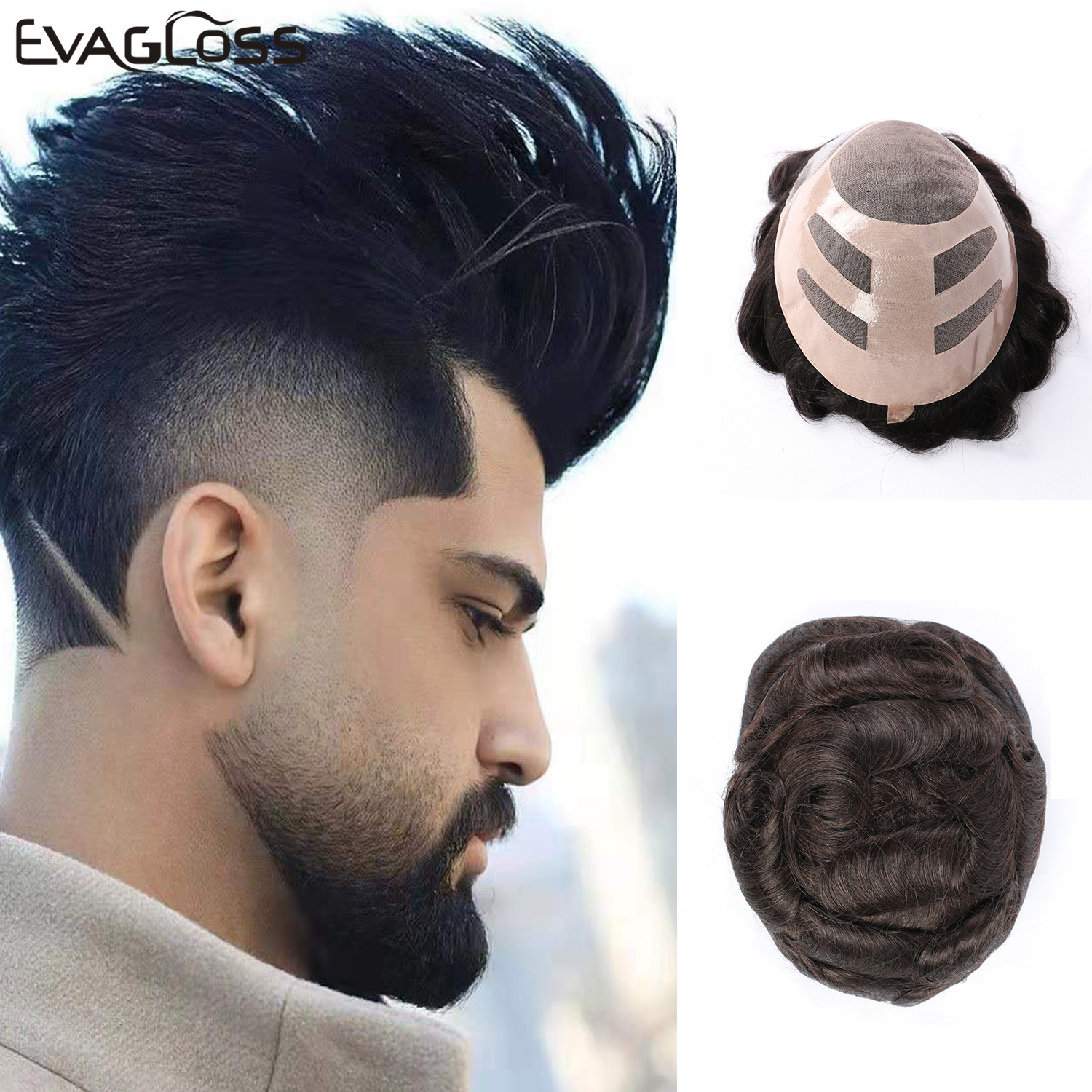 EVAGLOSS Toupee For Mens Swiss Lace Front With Fine Mono Mens Toupee Natural Hairline Remy Prosthetic Hair System Male Wig
