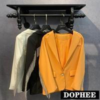 Celebrity 2020 Spring New Back Tassels Chain Shiny Long Sleeve Suit Jacket Women Blazers Elegant Office Lady Workwear Coat Tops