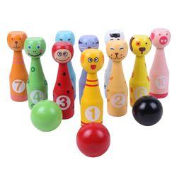 Conjunto De Boliche de Madeira Pinos 3 10 pçs/set 13 Bola Animal Brinquedo Educativo Jogo de Boliche para Crianças Indoor Esportes Família