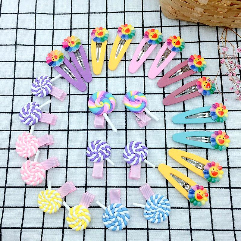 24 Pcs Set Mixed Hairpins Included 12 Candy Color Clamp Hairpin And Sunflower BB Hair Clips For Girls Kids