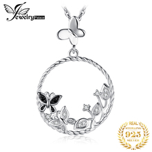 JewelryPalace 925 Sterling Silver Pendants Necklace Black Butterfly Flower Spinels Cubic Zirconia Fashion Pendant Without Chain jewelrypalace authentic 925 sterling silver pendants necklace crown wings honey bee pendant without chain cubic zirconia jewelry