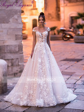 Royal Elegance Embroidery A Line Flora Lace Wedding Dress 2020 Tulle Skirt Scoop Illusion Sequin Tulle Underneath Backless Gown