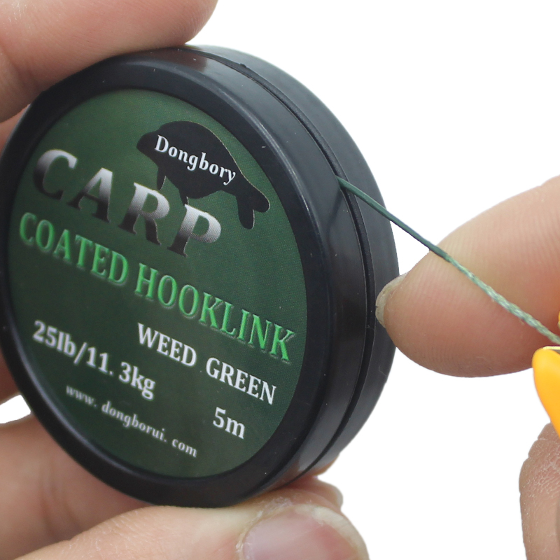 1PCS 5m Carp Fishing Line Hook Link Carp Coated Hooklink Braid Line For Hair Rig 15IB 25IB 35IB Carp Coarse Fishing Tackle