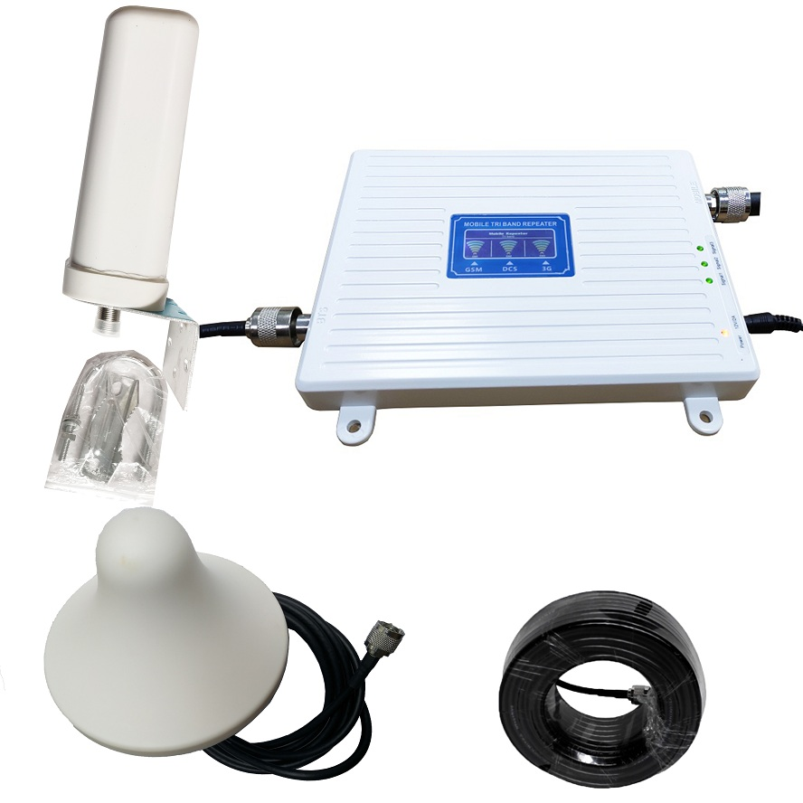 <font><b>2G</b></font> 3G 4G Triple band Cell Phone Signal Booster 70dB GSM 900 LTE 1800 WCDMA 2100 mhz Mobile Cellular Signal <font><b>Repeater</b></font> Antenna Set image