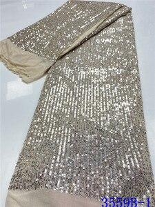 Image 4 - Tissu en dentelle à paillettes rouge populaire, tissu en dentelle africaine de haute qualité, avec paillettes, tissu en dentelle française pour femmes, mariage, APW3559B, 2020