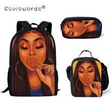 ELVISWORDS Black Art African Print 3pcs/set School Bags 2019 Girl Backpack for Kids Children Toddler Mochila