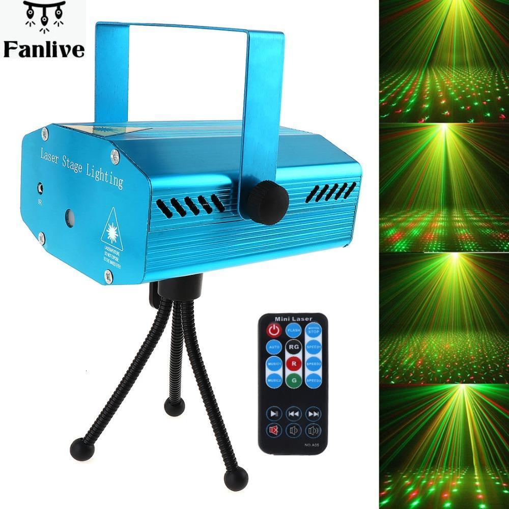 10pcs Hot Sale RED Mini R&G Auto / Voice Xmas DJ Disco LED Laser Stage Light Projector With Remote Controller