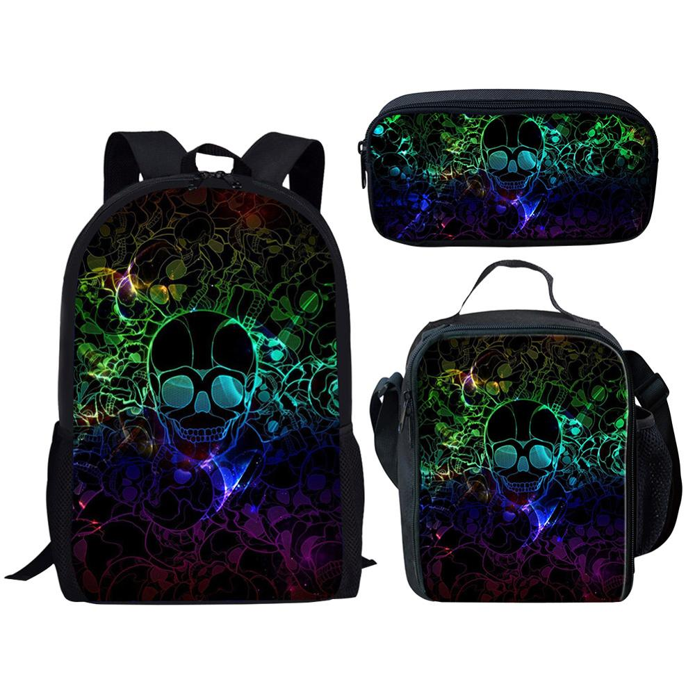Cool Skull Pattern 2020 School Bag Set For Teen Boys Girls Cute Student Kids Schoolbag Primary 3d Children's Backpack Bookbags