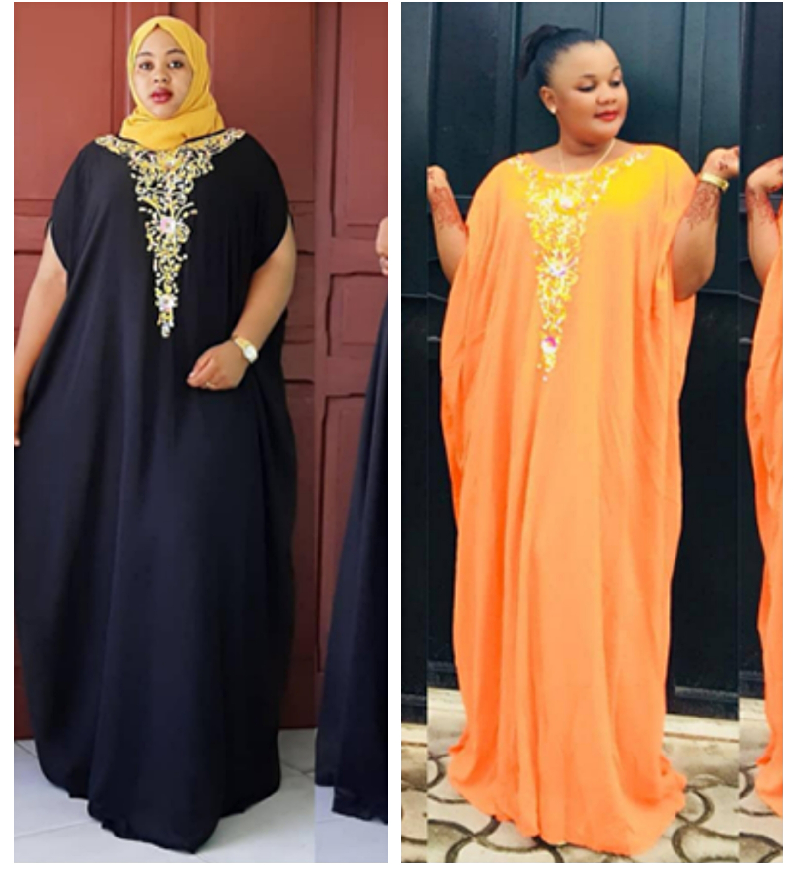 Length 154 Cm Super Loose Long Dress New Style African Women's Dashiki Fashion Stretch  Chiffon Material Black Red Free Size