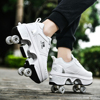 Deformation Parkour Shoes Four Wheels Rounds Of Running Shoes 2021 Casual Sneakers Unisex Deform Roller Shoes Skating Shoes