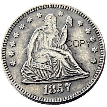 USA 1857 1857-O 1857-S Moneda de copia de 25 centavos bañada en plata de ley con cuarto de dólar de libertad sentada