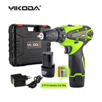 12v Hand Cordless Screwdriver Rechargeable Drill Mini Electric Drill Two Lithium Battery Tools Plastic Case Accessory|Electric Drills| |  -