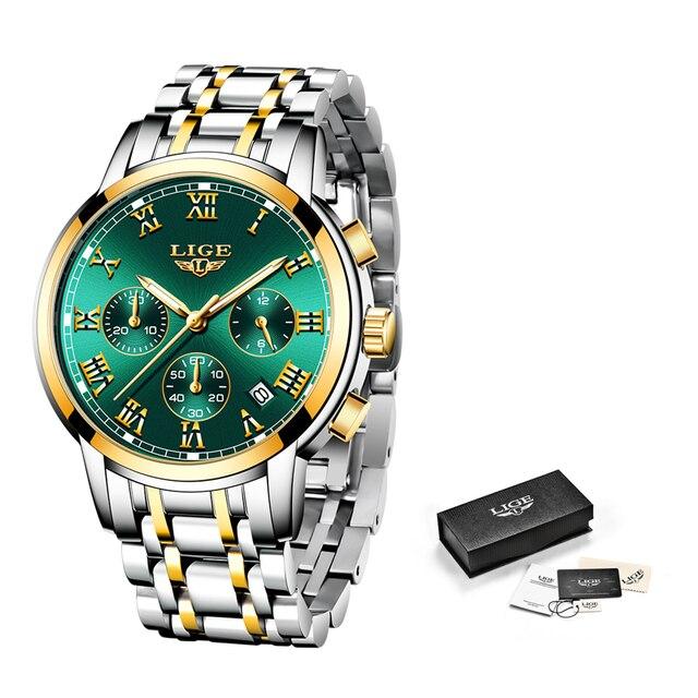 LIGE-reloj de cuarzo de lujo para mujer, accesorio de marca superior, resistente al agua, de acero inoxidable, regalo de cita, nuevo, 2021 6