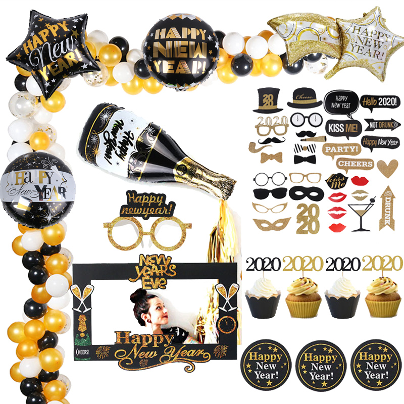 Happy 2020 New Year Party Decoration Foil Balloons Eve Decor Baloons Garland Photo Props Supply