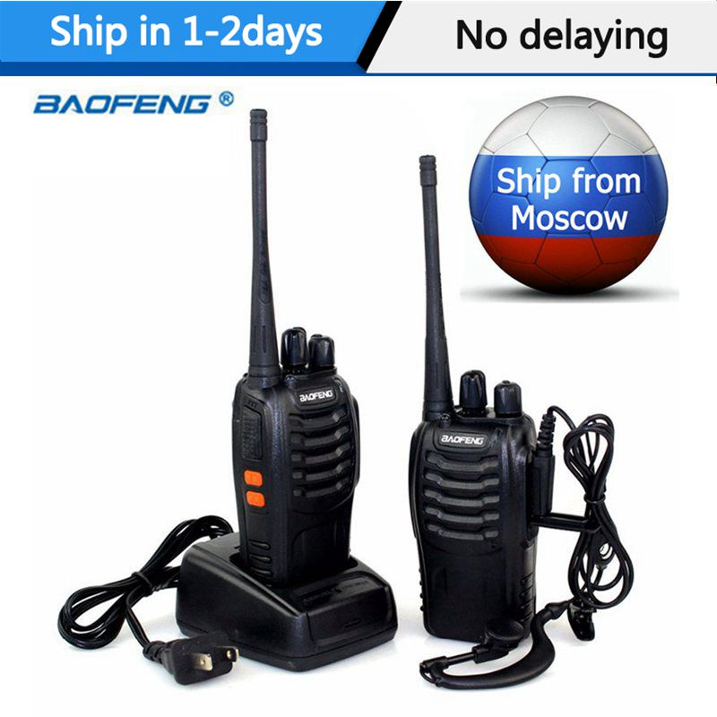 1Or 2 PCS Baofeng BF-888S Walkie Talkie 5W Two-way radio Portable Radio UHF 400-470MHz 16CH Comunicador Transmitter Transceiver