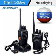 1or 2 pces baofeng BF-888S walkie talkie 5w rádio em dois sentidos rádio portátil uhf 400-470mhz 16ch transmissor comunicador transceptor