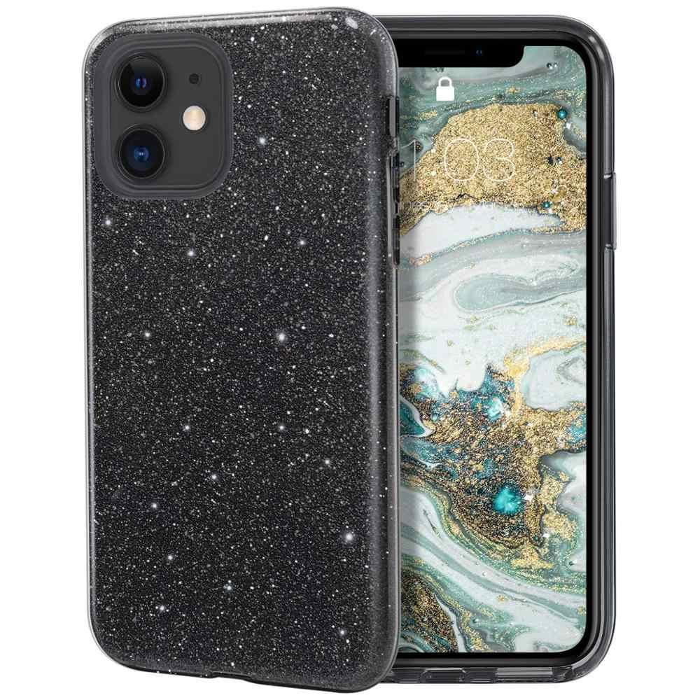גליטר מקרה עבור iPhone 11 פרו מקסימום X R XR XS 8 בתוספת 7 6 6S SE 2 2020 בלינג Sparkle ילדה נשים יוקרה מותג סיליקון כיסוי שחור