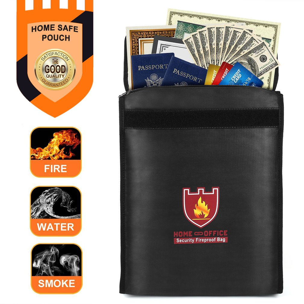 Security Fireproof Bag Document Bag Pouch Silicone Coated Money Cash & Envelope Holder Zipper Storage Bag For Home & Office