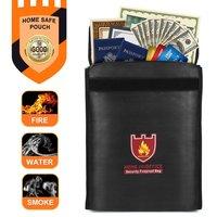 Security Fireproof Bag Document Bag Pouch Silicone Coated Money Cash & Envelope Holder Zipper Storage Bag for Home & Office|File Folder| |  -