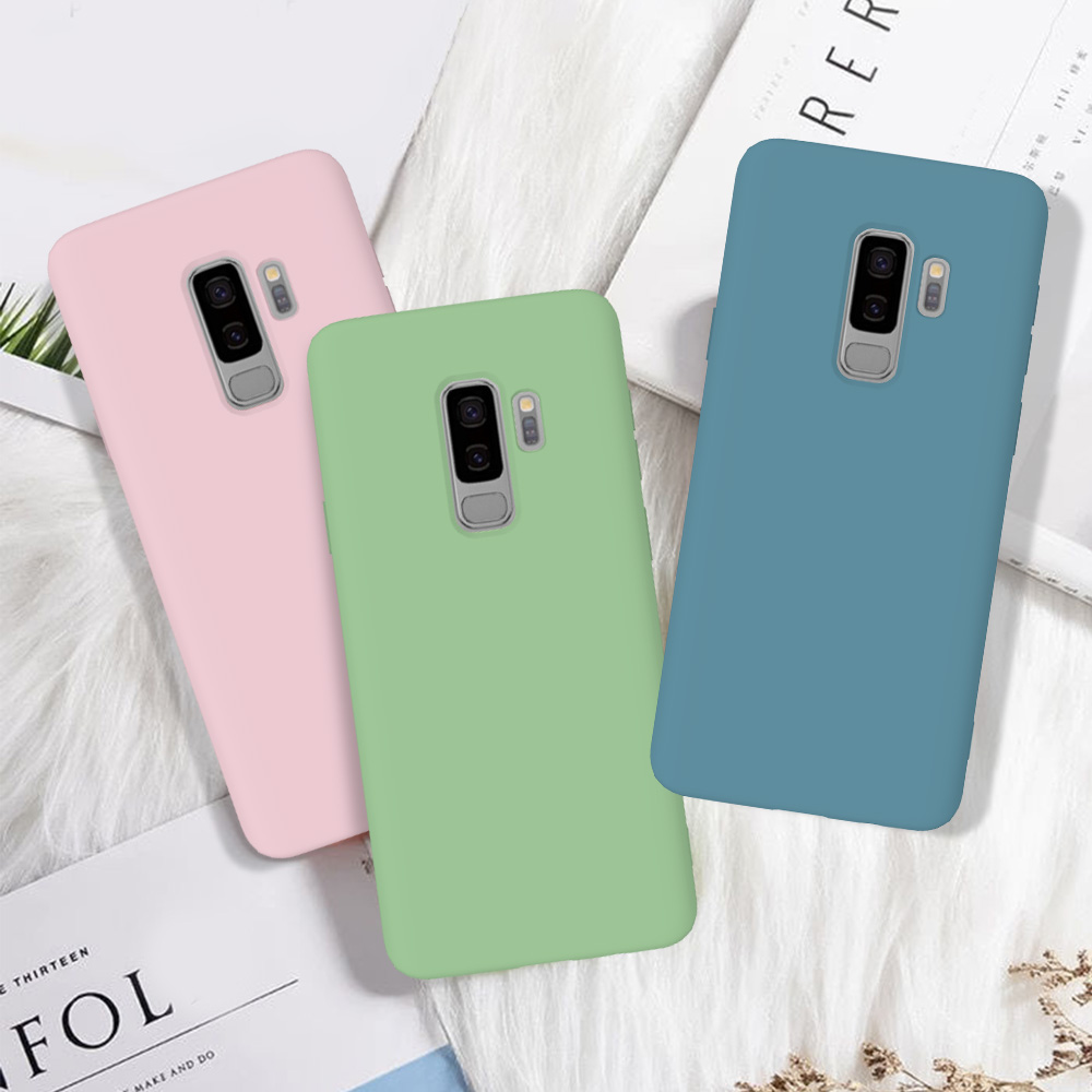 Luxury Candy Color Scrub Phone Case For Coque Samsung Galaxy S9 Plus Case For Etui Samsung S9 S 9 Plus Soft Silicone Back Case