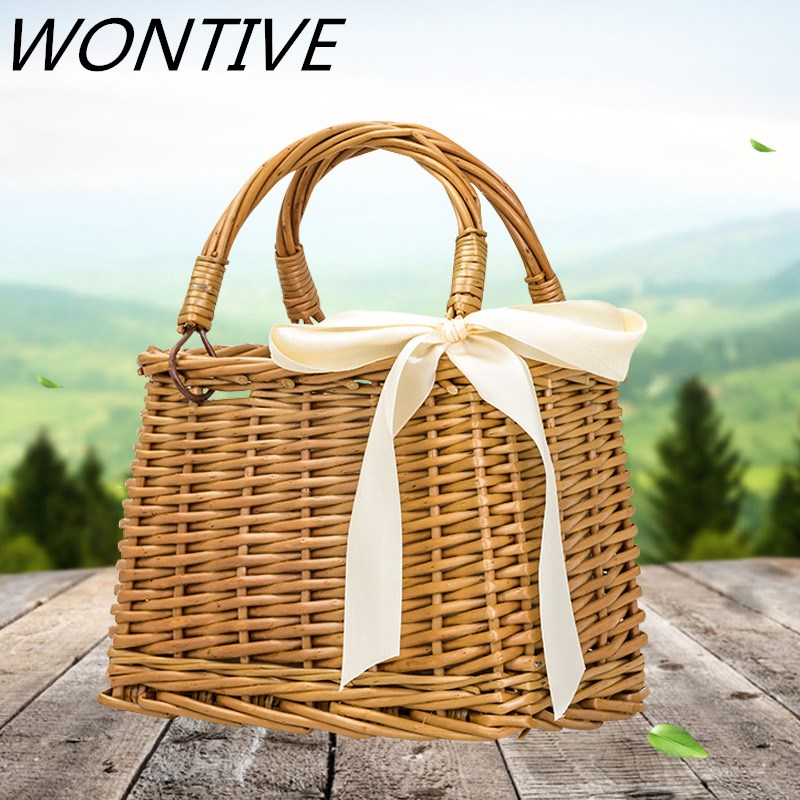 New Style Rattan Bags Straw Bag Women Summer Portable Small Square Bag Rattan Bag Casual Tourism Messenger Handbags Hand woven|Shoulder Bags|   - AliExpress