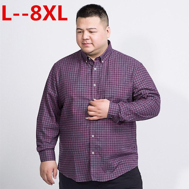 8XL 6XL 5XL 4XL Spring Autumn Mens Fashion 100% Cotton Brand Long Sleeve Plaid Shirts Male Retro Style Vintage Casual Shirt Men