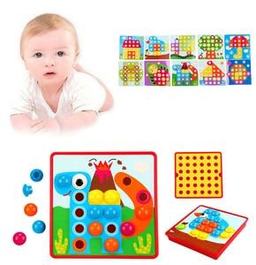 Детские 3D пазлы, игрушки, красочные кнопки, сборка грибов, гвозди, набор, Детская креативная мозаика, пазл, доска, развивающие игрушки Пазлы      АлиЭкспресс
