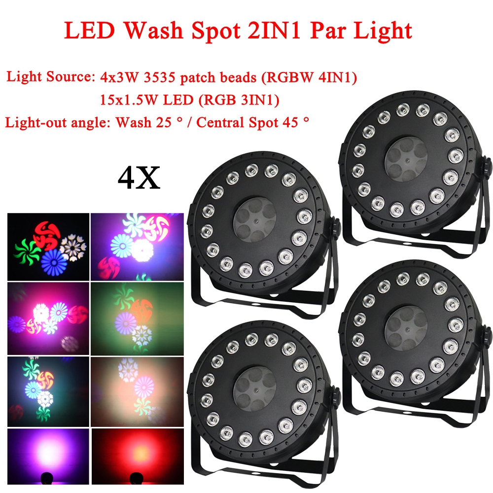 4Pcs/Lot NEW LED Disco Ball Party Light 30W LED Wash Spot 2IN1 Par Light For Birthday Decorations Home DJ Club Bar Lights